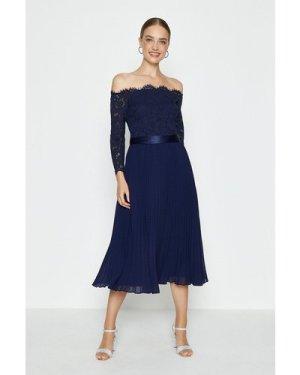 Coast Lace Bodice Bardot Midi Dress -, Navy