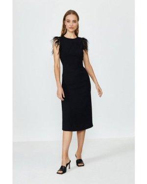Coast Feather Detail Midi Satin Dress -, Black