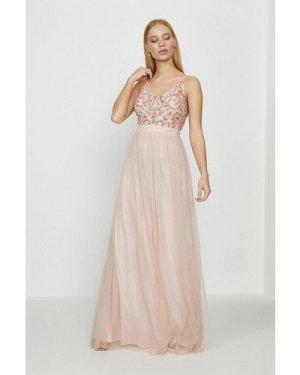 Coast Sequin Mesh Maxi Dress -, Pink