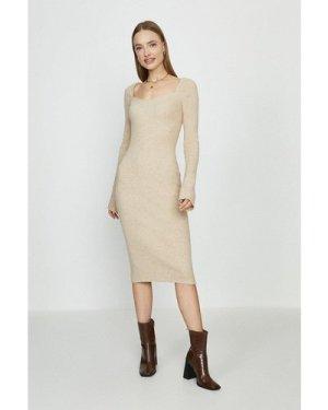 Coast Sweetheart Neck Knitted Rib Midi Dress - Stone, Brown