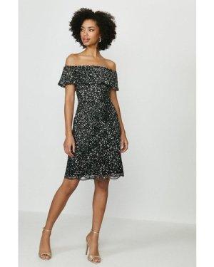 Coast Sequin Embellished Bardot Dress -, Black
