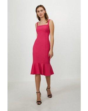 Coast Peplum Hem Bodycon Midi Dress -, Pink