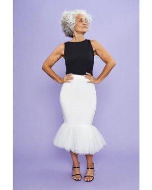 Coast Tulle Hem Midi Skirt -, Ivory
