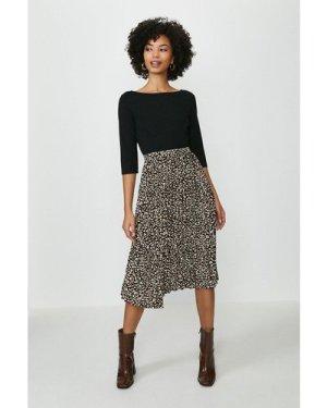 Coast Printed Pleated 3/4 Sleeve Midi Dress -, Animal