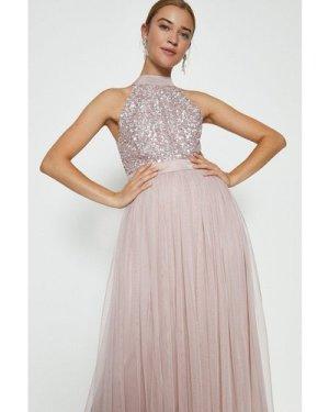 Coast Sequin Bodice Halter Maxi Dress -, Pink