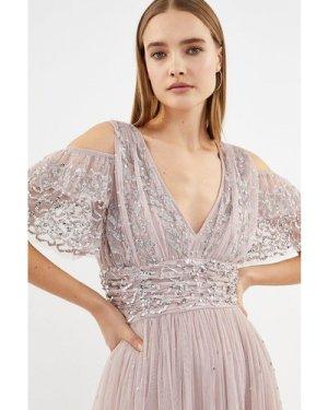 Coast Cold Shoulder Scattered Embellished Maxi Dress -, Pink