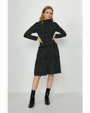 Coast High Neck Tiered Dress -, Mono