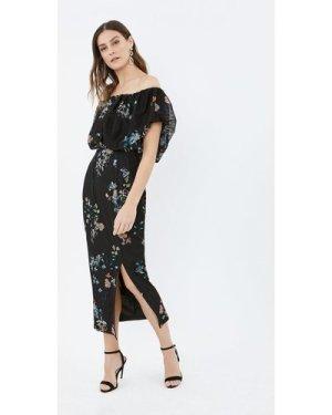 Coast Printed Mesh Puffball Bandeau Dress, Multi