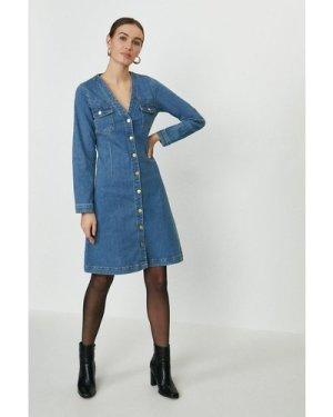 Coast Button Through Long Sleeve Denim Dress -, Blue