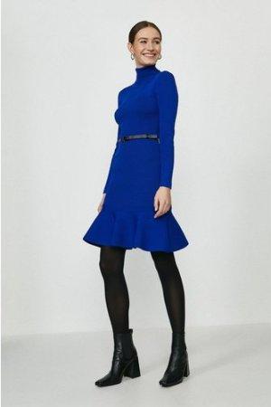 Coast Knitted Roll Neck Belted Flippy Hem Dress -, Blue