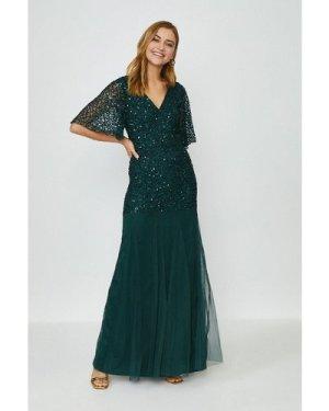 Coast Sequin Angel Sleeve Maxi Dress -, Green