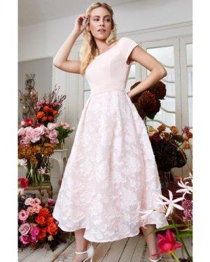 Coast Bardot Neck Embroidered Midi Dress -, Pink