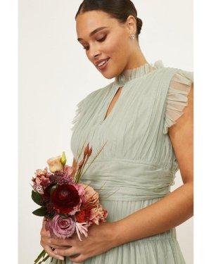Coast Curve Tulle Tiered Frill Sleeve Dress -, Sage