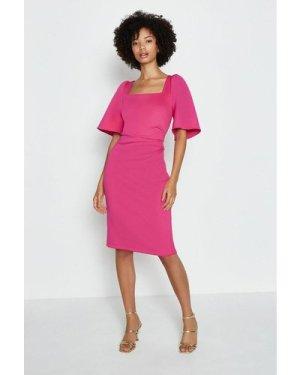 Coast Square Neck Flare Sleeve Dress -, Pink