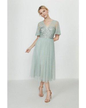 Coast Embellished Angel Sleeve Midi Dress -, Sage