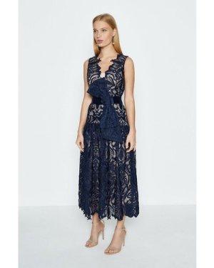 Coast Sleeveless V-Neck Lace Maxi Dress -, Navy