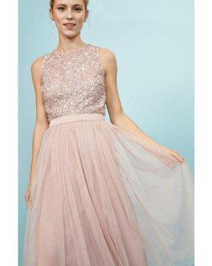 Coast Pleated Mesh Midi Skirt -, Pink