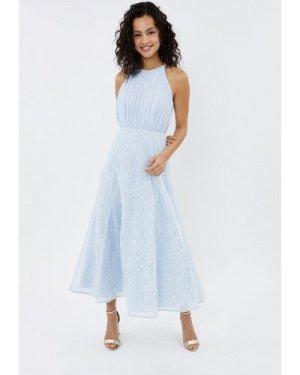 Coast 3D Textured Full Midi Bridesmaid Dress -, Ice Blue