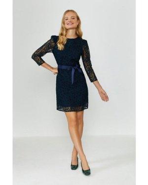 Coast Lace Tie Waist Long Sleeve Mini Dress -, Navy