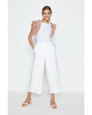 Coast Cotton Sateen Wide Leg Crop Trouser -, Ivory