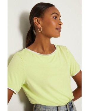 Coast Satin Trim Slash Neck T-Shirt - Mint, Green