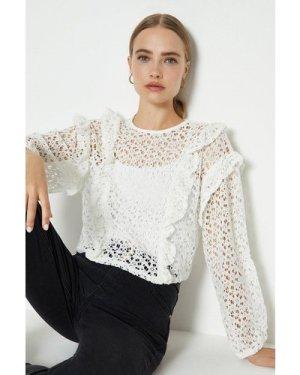 Coast Lace Long Sleeve Top -, Ivory
