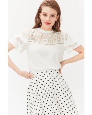 Coast Short Sleeve Lace And Ruffle Shell Top -, Ivory