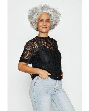 Coast Lace T-Shirt -, Black