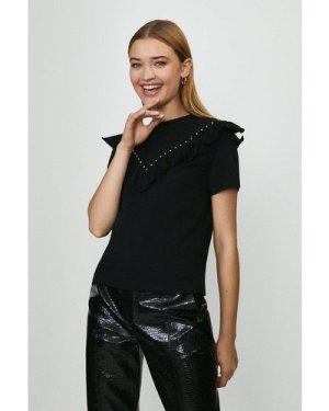 Coast Ruffle And Stud Front T-Shirt -, Black