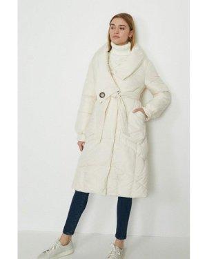 Coast Oversized Midi Puffer Coat With Tie Waist -, Ivory