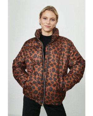 Coast Leopard Print Puffer Coat -, Red