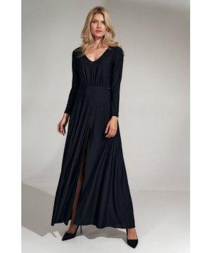 Figl Black flared maxi dress with a V-neck