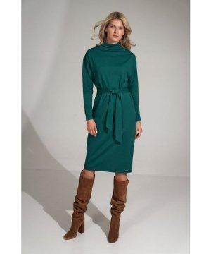 Figl Green turtleneck midi dress