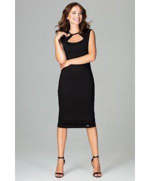 Lenitif Black Bodycon Dress With Decorative Neckline