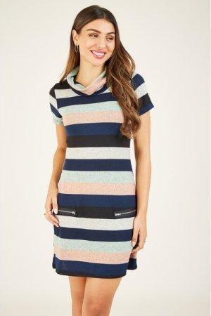 Mela London MELA LONDON Stripe Knitted Cowl Neck Zip Dress