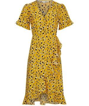 Yumi Animal Dash Print Wrap Dress