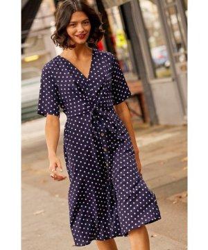 Yumi Navy Spot Tie Knot Button Detail Dress