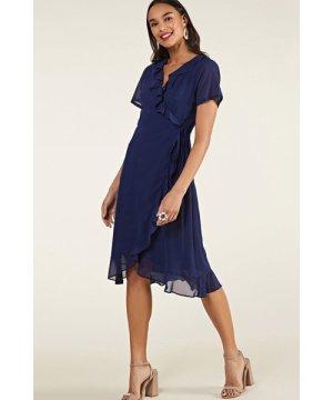 Yumi Navy Frill Wrap Dress With Tassel Detail