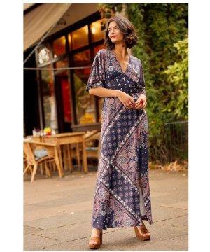 Yumi Navy Ditsy Scarf Print Maxi Dress With Kimono Sleeve