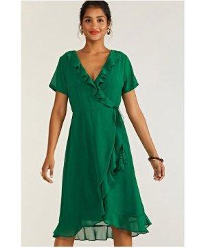 Yumi Green Frill Wrap Dress With Tassel Detail