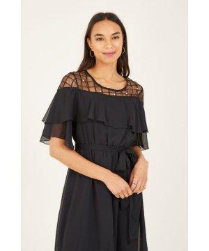 Yumi Black Lace Frill Midi Dresss