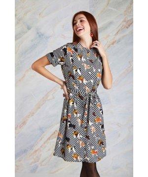 Yumi Cute Dog And Stripe Print Shirt Dress