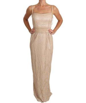 Dolce & Gabbana Beige Lace Spaghetti Strap Sheath Dress