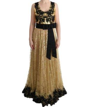 Dolce & Gabbana Gold Black Floral Lace Dress