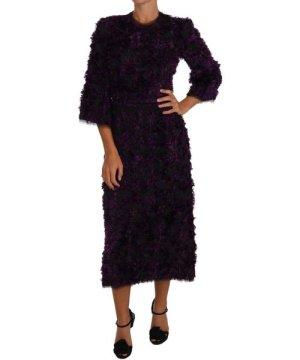 Dolce & Gabbana Purple Fringe Midi Sheath Dress