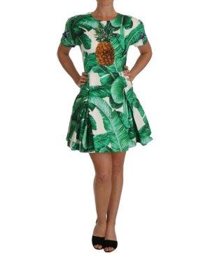 Dolce & Gabbana A-Line Banana Leaf Pineapple Crystal Dress