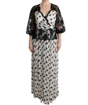 Dolce & Gabbana Black White Polka Dotted Floral Dress