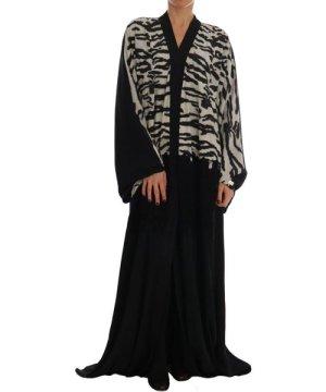 Dolce & Gabbana Black Zebra Kaftan Abaya Cape Silk Dress