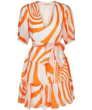 Traffic People Felicitous Swirl Print Mini Dress in White and Orange