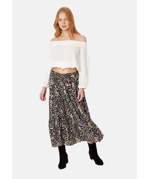Traffic People Bells On Her Toes Boho Polka Dot Midi Skirt in Black